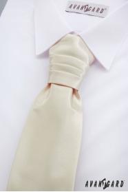 Fiú francia nyakkendő és díszzsebkendő - Krémszín