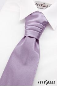 Francia világos lila nyakkendő fiúknak díszzsebkendővel