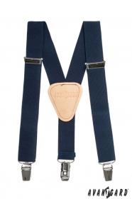Sötét kék fiú Y alakú nadrágtartó csatokkal és bézs középpel