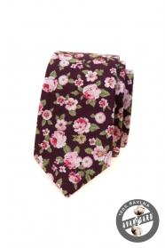 Keskeny nyakkendő rózsaszín virágokkal