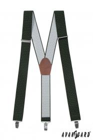 Zöld nadrágtartó fehér pöttyökkel, barna bőr és fém klipekkel