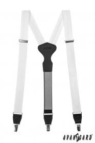 Fehér nadrágtartó fémkapcsokat, fekete bőr, díszdobozban