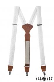 Fehér nadrágtartó mintával, barna bőr, fémkapcsokat, díszdobozban