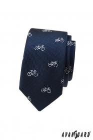 Kék keskeny nyakkendő, fehér kerékpár motívum