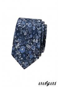 Sötétkék slim nyakkendő virágmintával