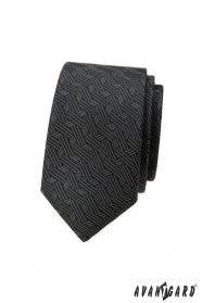 Sötét szürke keskeny nyakkendő, modern mintával
