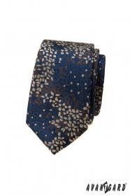 Kék keskeny nyakkendő színes mintával