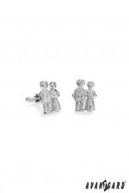 Mandzsettagombok esküvői pár ezüstben