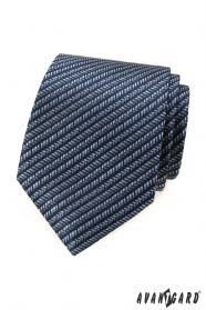 Kék nyakkendő csíkos motívummal
