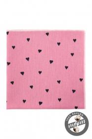 Rózsaszín pamut díszzsebkendő szívvel