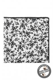 Fehér díszzsebkendő fekete virágmintával