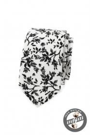 Keskeny nyakkendő virágmintával