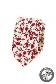 Fehér keskeny nyakkendő, piros virágokkal