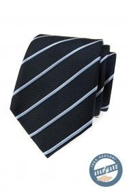 Kék selyem nyakkendő csíkkal díszdobozban