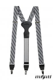 Fekete-fehér színű nadrágtartó fém klipsz