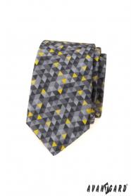 Szürke keskeny nyakkendő háromszög mintával