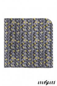 Szürke díszzsebkendő háromszög mintával