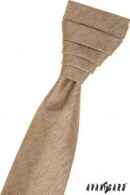 Bézs francia nyakkendő egy díszzsebkendővel