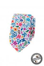 Fehér keskeny nyakkendő színes virágokkal