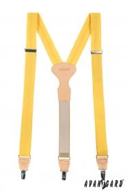 Sárga hárompontos nadrágtartó bézs bőrrel és klipszel