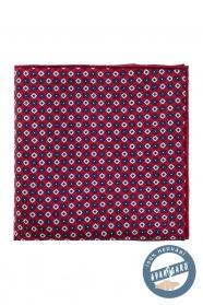 Érdekes mintás bordó selyem díszzsebkendő