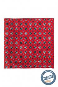 Gyönyörű piros mintás selyem díszzsebkendő