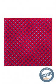 Selyem díszzsebkendő kék virágos mintával - Piros