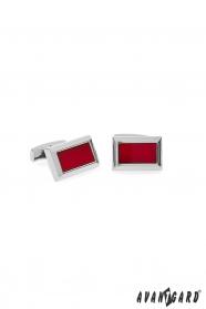 Csillogó ezüst premium férfias piros díszes mandzsettagombok