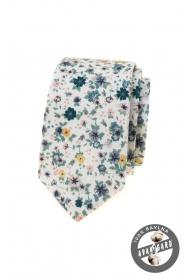 Fehér keskeny nyakkendő színes rét virágokkal