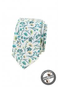 Fehér nyakkendő színes rét virágokkal