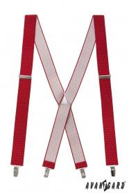 Piros nadrágtartó pöttyös és fém kiegészítőkkel