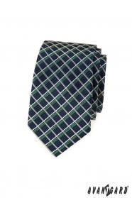Kék keskeny nyakkendő, fehér és zöld csíkokkal