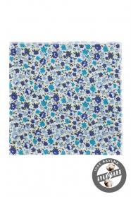 Pamut díszzsebkendő kék virággal