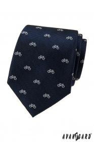 Kék strukturált nyakkendő, fehér kerékpár minta