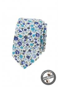 Pamut keskeny nyakkendő kék virágokkal