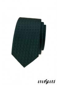 Sötétzöld keskeny nyakkendő rácsmintával