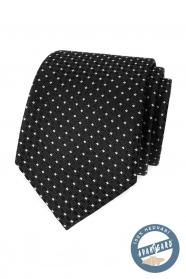 Fekete selyem nyakkendő fehér ponttal