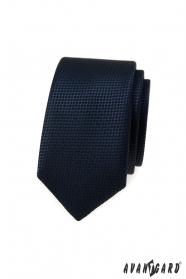 Sötétkék keskeny nyakkendő kötött szerkezettel
