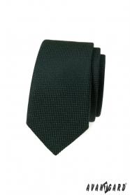 Sötétzöld keskeny nyakkendő kötött szerkezettel
