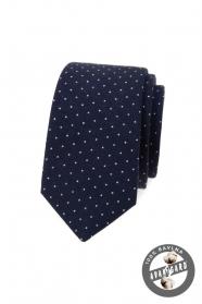 Sötétkék pamut slim nyakkendő fehér pöttyös