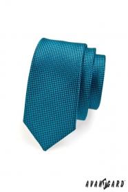 Keskeny steppelt nyakkendő kék színben