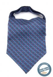 Kék selyem Ascot, kék-piros mintával