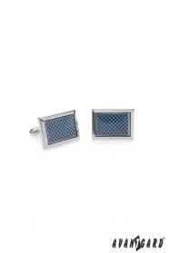 Csillogó ezüst premium kék luxusos mintás mandzsettagombok