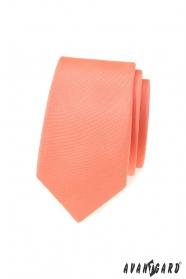 Keskeny nyakkendő matt lazac színnel
