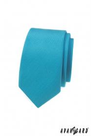 Keskeny nyakkendő türkiz matt színnel