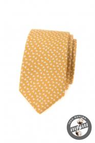 Sárga pamut keskeny nyakkendő háromszöggel