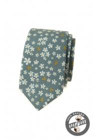 Olívazöld keskeny nyakkendő virágmintával