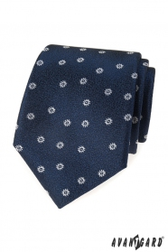 Kék strukturált nyakkendő fehér mintával
