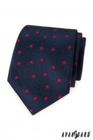 Kék férfi nyakkendő piros mintával