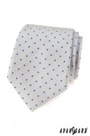 Világosszürke nyakkendő kék pöttyöskel